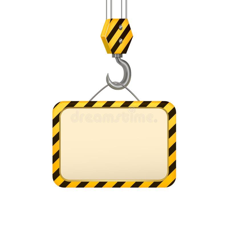 Industrieller Crane Hook Banner Card Vektor stock abbildung