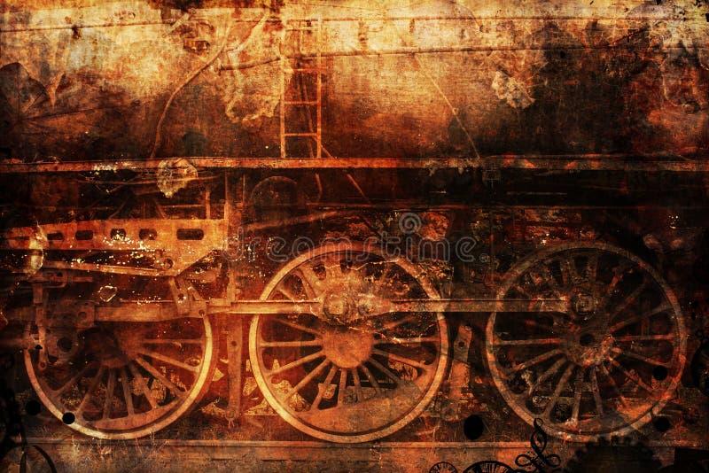 Industrieller DampfPunkhintergrund des rostigen Zugs lizenzfreie stockbilder