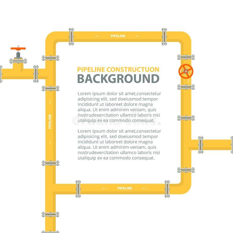 Industrieller Hintergrund mit gelber Rohrleitung Rohre gestalten in Form für Text lizenzfreie abbildung