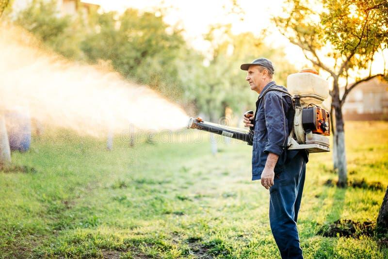 Industrieller Landarbeiter, der Schädlingsbekämpfung unter Verwendung des Insektenvertilgungsmittels tut stockfoto
