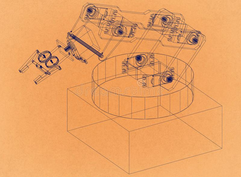 Industrieller Roboterarm - Retro- Architekt Blueprint lizenzfreie stockfotografie