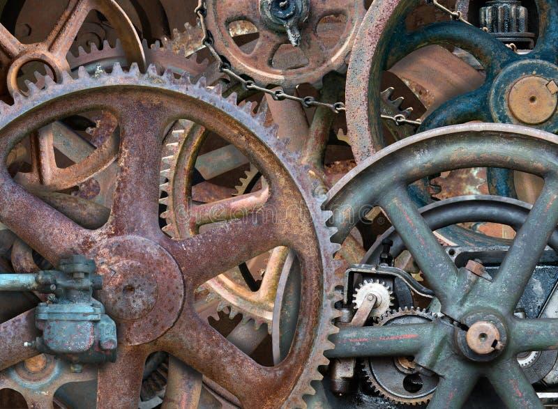 Industrieller Steampunk-Hintergrund, Gänge, Räder lizenzfreie stockfotos