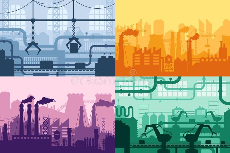 Industrielles Fabrikschattenbild Fertigungsindustrieinnenraum, Herstellungsverfahren und Fabrikmaschinenvektor stock abbildung