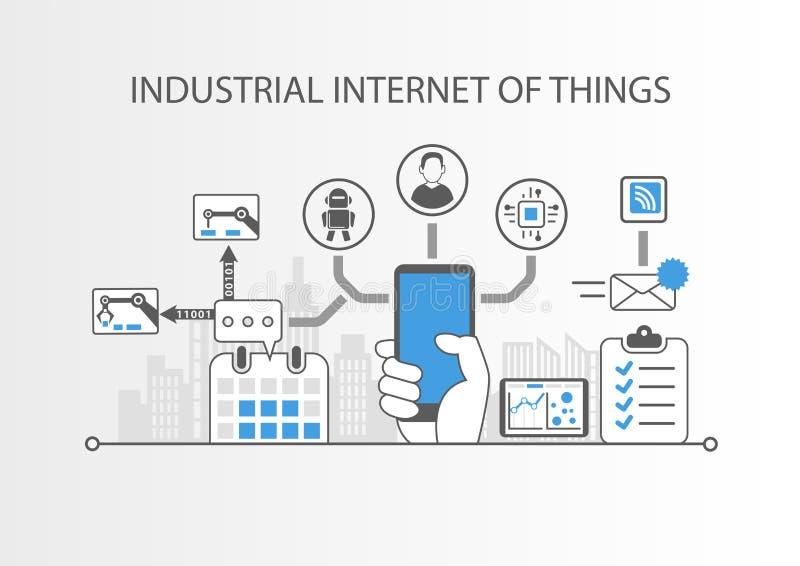 Industrielles Internet von Sachen oder von Industrie 4 0 Konzept mit einfachen Ikonen auf grauem Hintergrund vektor abbildung