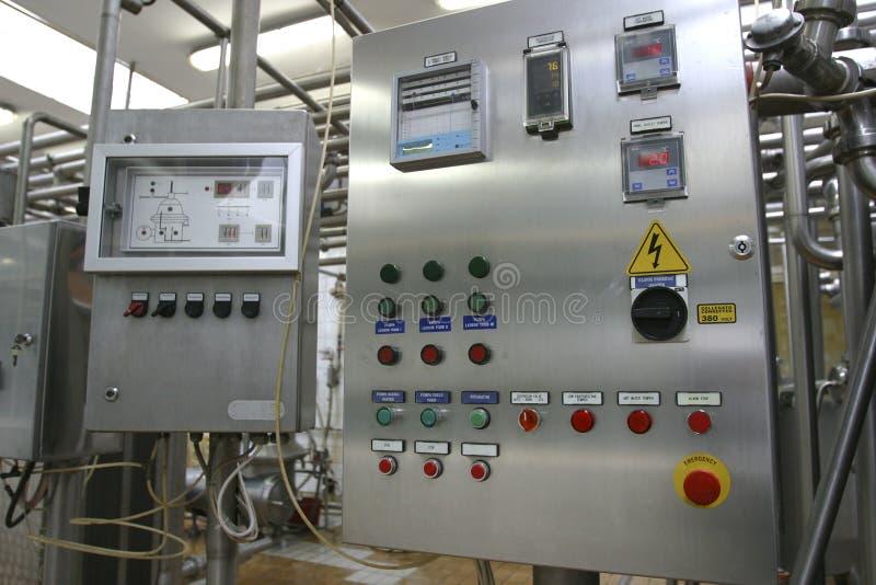 Industrielles Kontrollsystem in der modernen Molkereifabrik lizenzfreies stockfoto