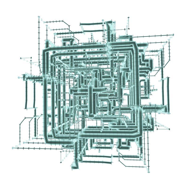 Industrielles Rohr-System lokalisiert auf Weiß stock abbildung