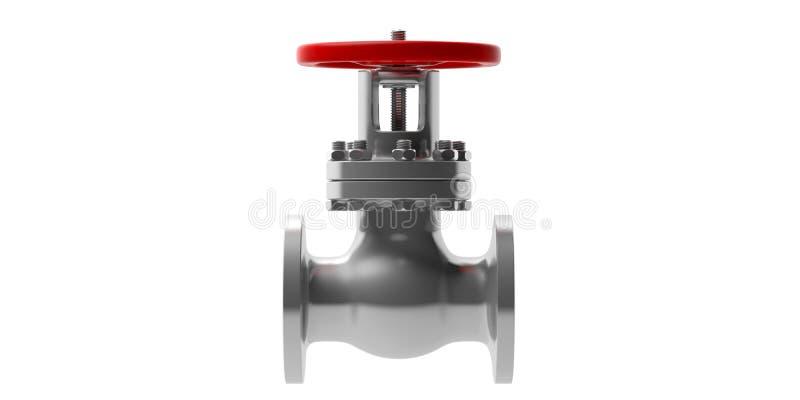 Industrielles Rohrleitungsventil lokalisiert auf weißem Hintergrund, Vorderansicht Abbildung 3D lizenzfreie abbildung