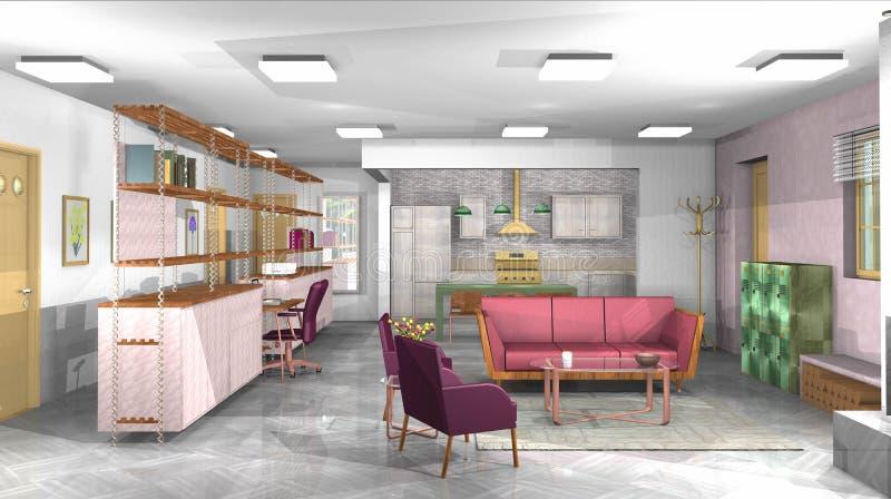 Download Industrielles, Rustikales, Modernes Wohnzimmer Mit Büro Und Offene  Küche Stockfoto   Bild Von