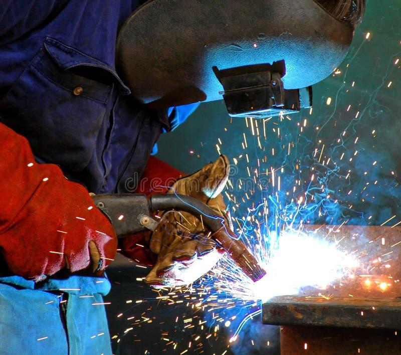 Industrielles Stahlschweißen stockfoto