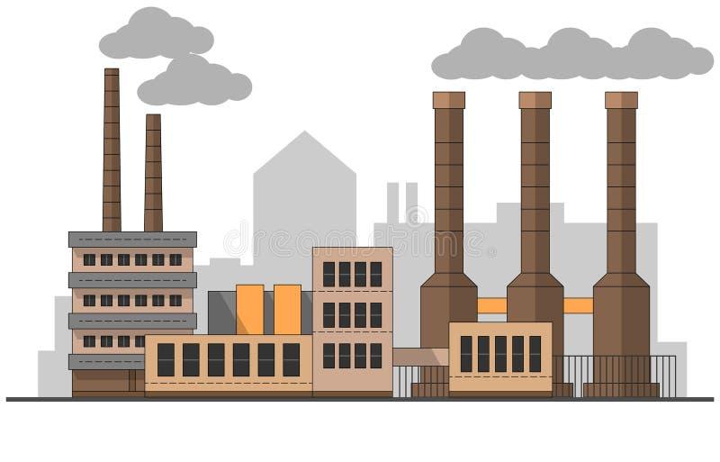 Industriellt fabrikslandskap Plan illustration för vektor Bakgrundsväxter Rör med rök målning redigerbart stock illustrationer
