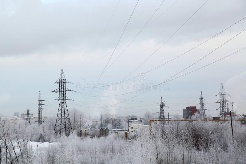 Industriellt landskap för vinter royaltyfria foton