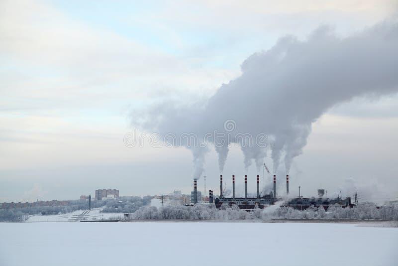 Industriellt landskap för vinter royaltyfria bilder