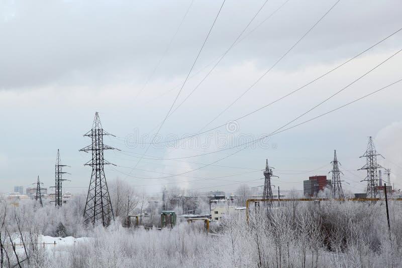Industriellt landskap för vinter fotografering för bildbyråer