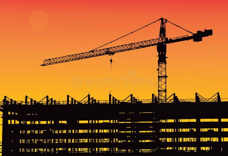 Industriellt maskineri och konstruktionskranen Kranar och skyskrapa under konstruktion, stadshorisontsolnedgång, soluppgång Build royaltyfri illustrationer