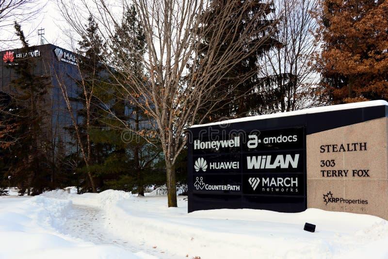 Industriellt parkera inklusive det Huawei forskning & utvecklingscentret i Kanada arkivbilder