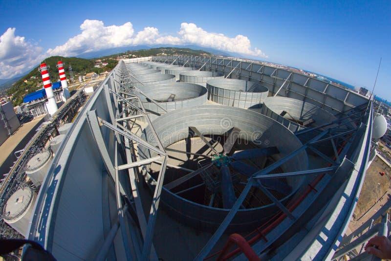 Industriellt ventilationssystem, tak av växten arkivbild
