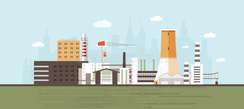 Industriepark, Standort, Zone oder Bereich mit Herstellungsgebäuden und Anlagen, Kraftwerke und Fabriken, Kran stock abbildung