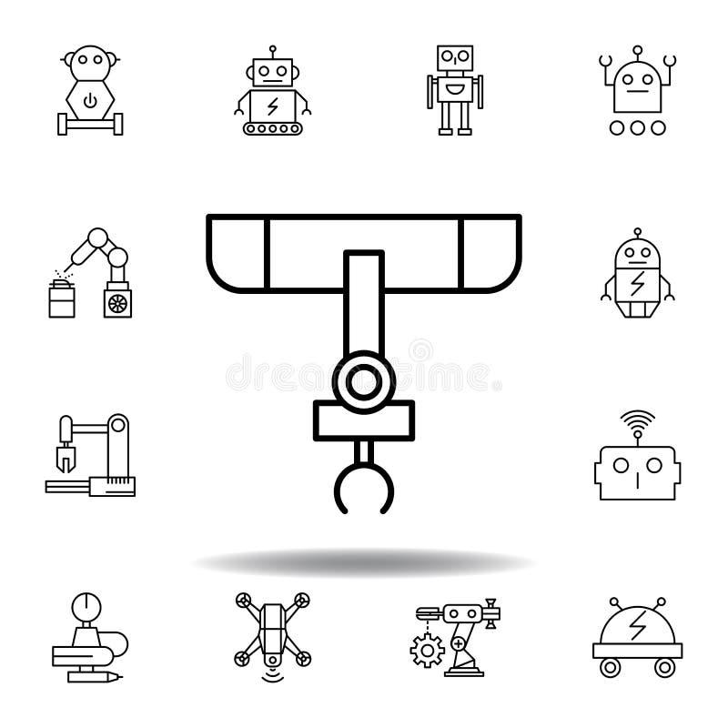 Industrieroboter-Entwurfsikone der Robotik stellen Sie von den Robotikillustrationsikonen ein Zeichen, Symbole können für Netz, L stock abbildung