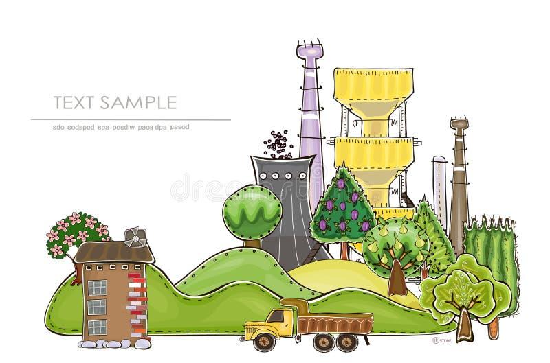 Industries et nature, fond environnemental de concept illustration stock