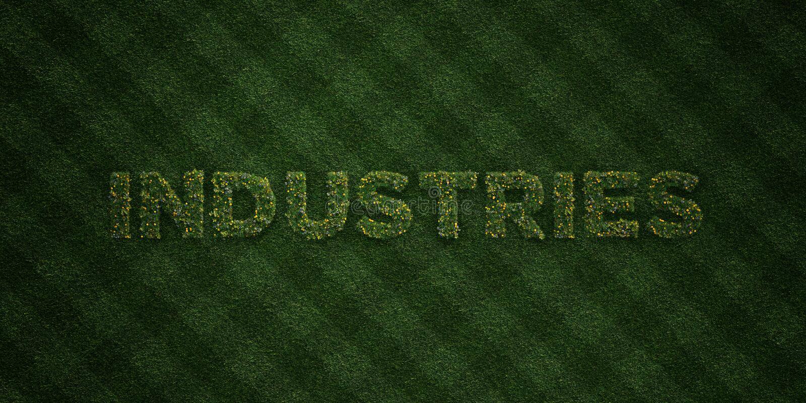 INDUSTRIES - fresh Grass letters with flowers and dandelions - 3D rendered royalty free stock image. Can be used for online banner ads and direct mailers stock photos
