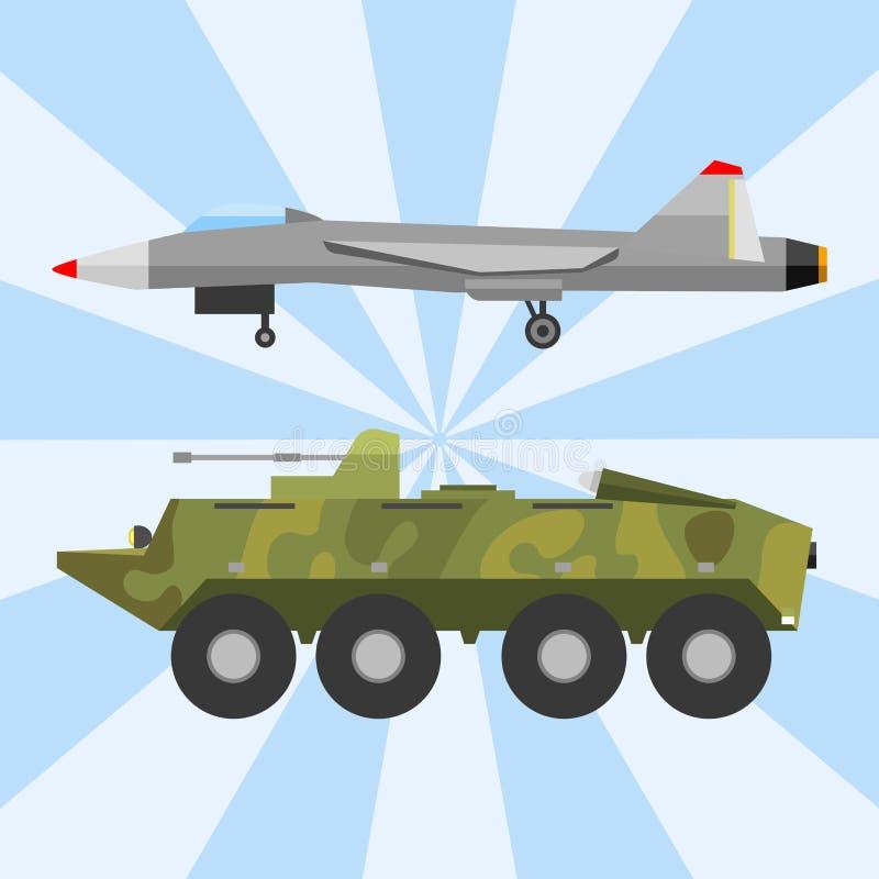 Industrietechnikrüstungsverteidigungs-Vektorsammlung des Militärtechnikarmeekriegstransportes kämpfende stock abbildung
