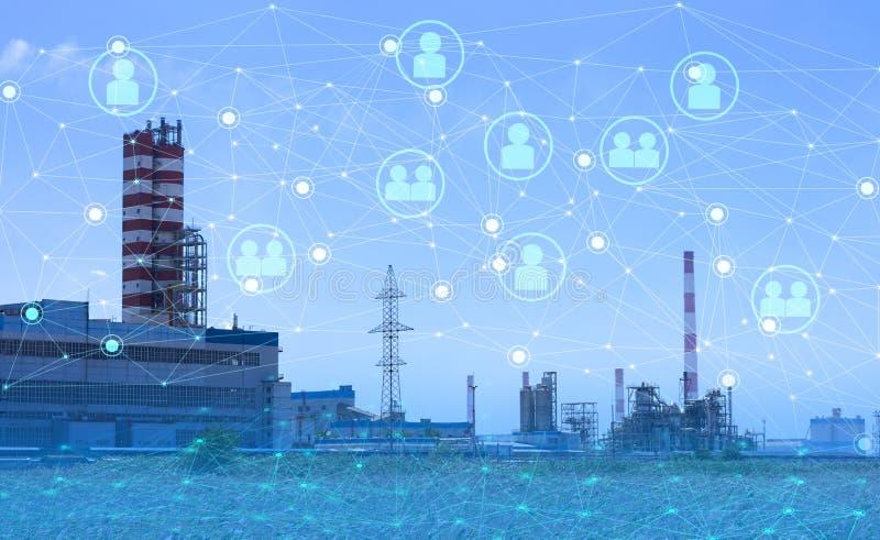 4 0 industrietechnologie om de productiviteit te verhogen en de arbeidsparticipatie te verminderen Het gebruik van het internet v stock foto