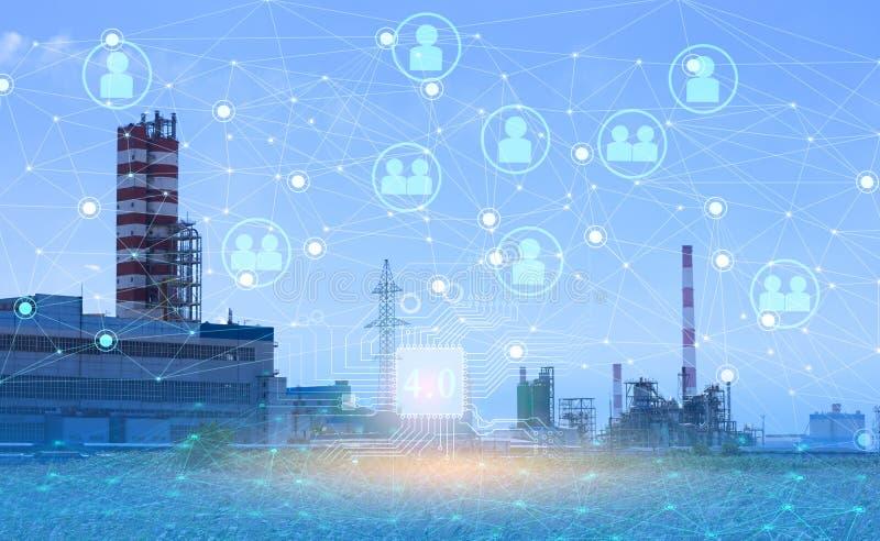 4 0 industrietechnologie om de productiviteit te verhogen en de arbeidsparticipatie te verminderen Het gebruik van het internet v stock afbeelding
