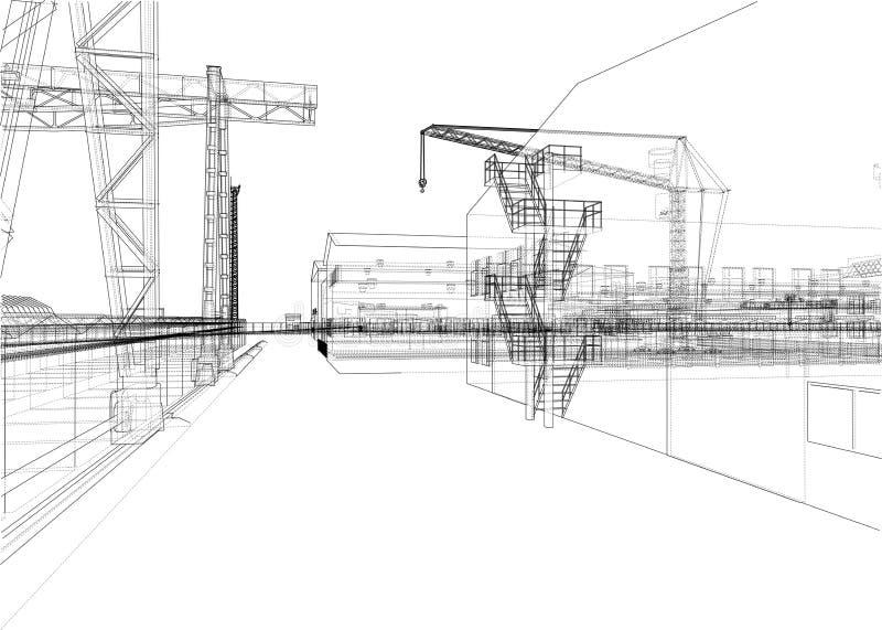 Industriezone met gebouwen en kranen stock illustratie