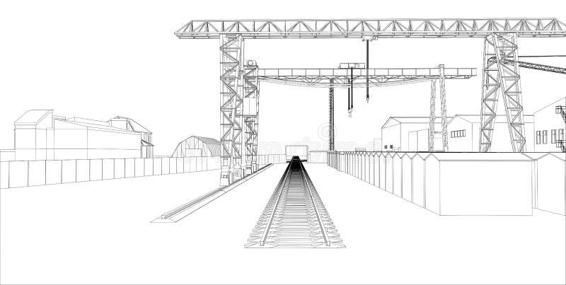 Industriezone met gebouwen en kranen royalty-vrije illustratie