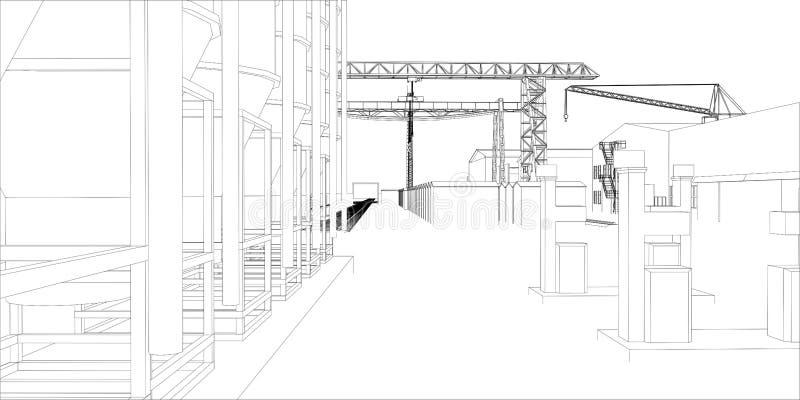 Industriezone met gebouwen en kranen vector illustratie