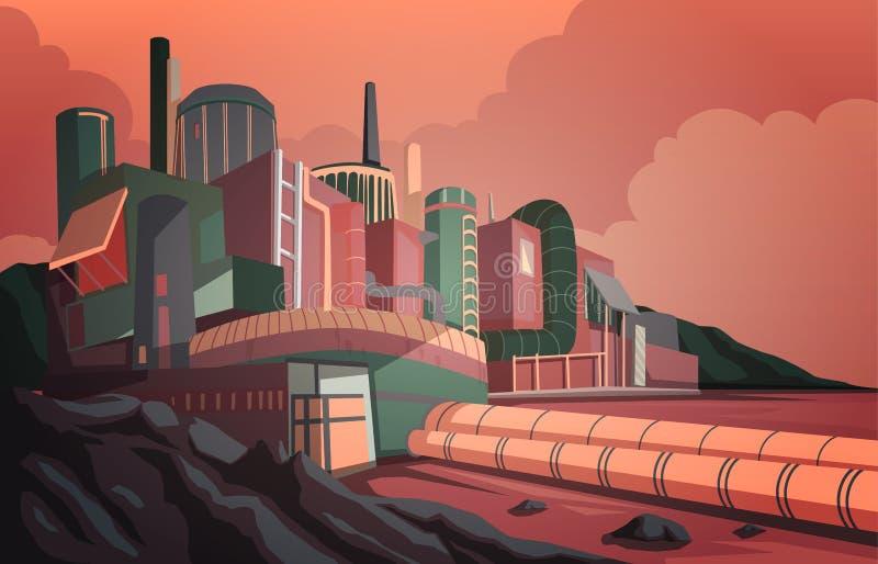Industrilandskap med modern fabriksbyggnad och lager industrizon med soluppgång och molnigt luftrum vektor illustrationer