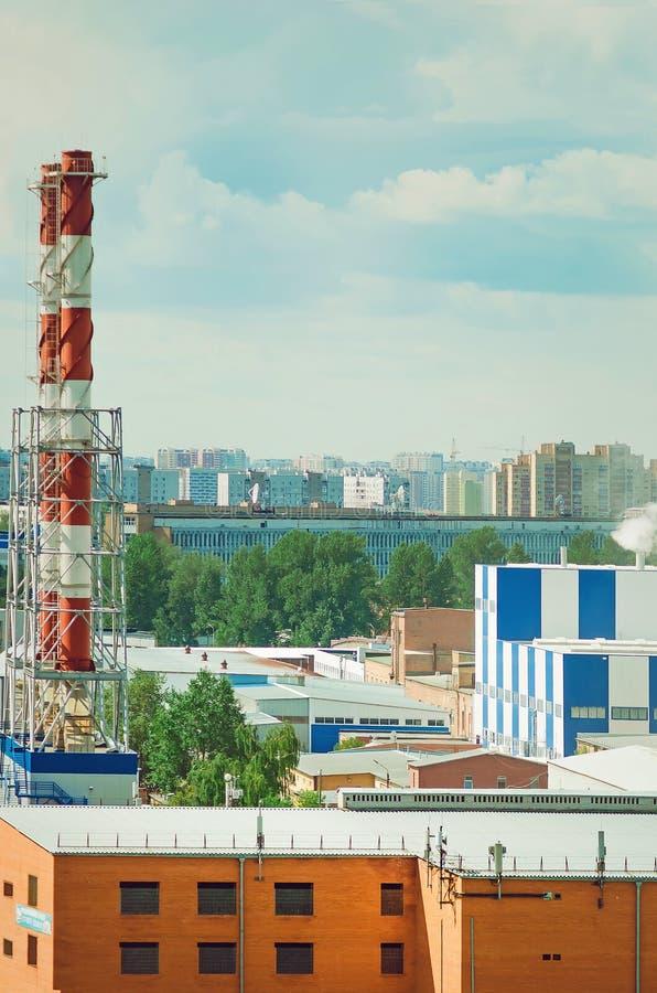 Industriområde i staden arkivfoto