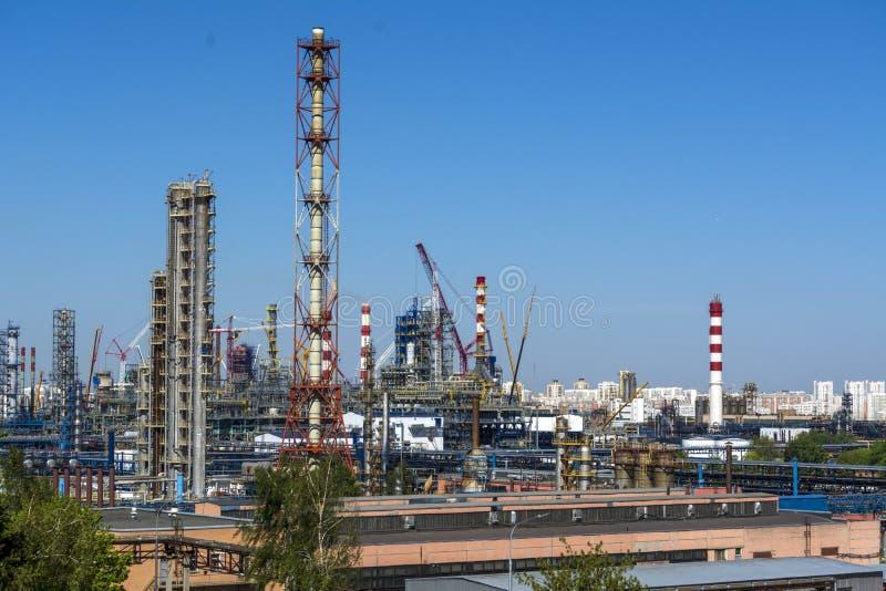 Industriområde, område, fabrik, tillverkning och energi moscow Kapotnya arkivfoto