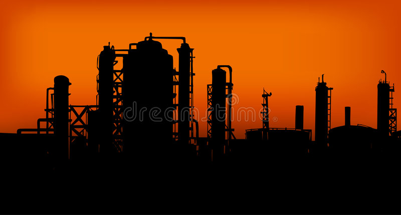 Industry 01. Group of Factories in the sunset vector illustration