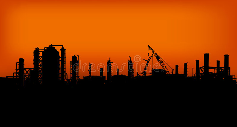 Industry 03. Group of Factories in the sunset royalty free illustration
