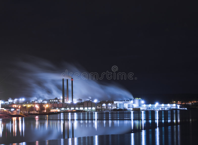 Industry. By the water an a lot of lights stock photo