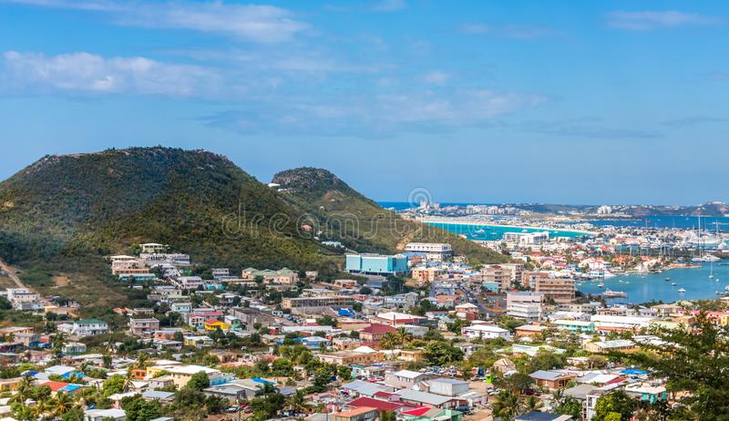 Industry Along Saint Martin. Homes and Industry Along Saint Martin on the French Side of the Island Nation stock photo