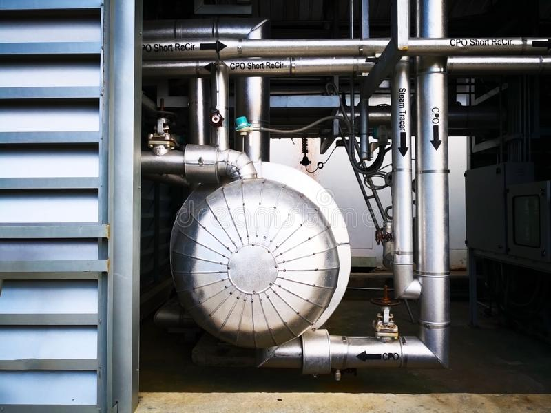 Industry and alternate energy concept, Stainless steel machines. And pipes for passing crude palm oil to produce electricity royalty free stock photos