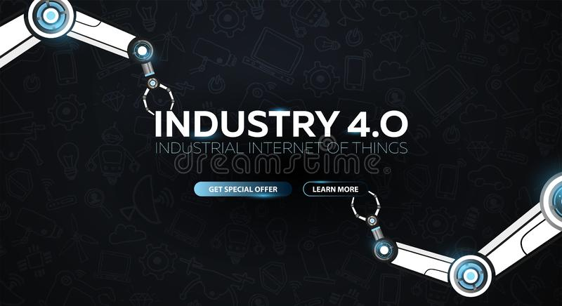 Industry 4.0 banner with robotic arm. Smart industrial revolution, automation, robot assistants. Vector illustration. Industry 4.0 banner with robotic arm royalty free illustration