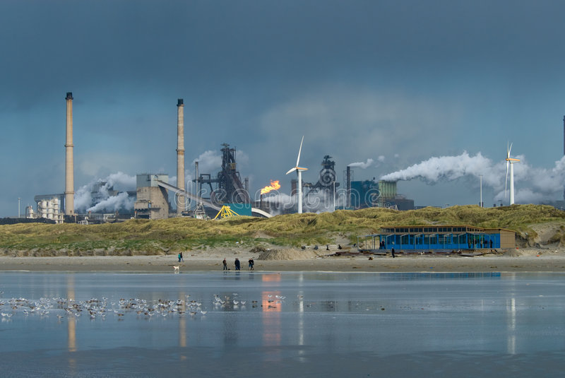 Industry on the beach royalty free stock photos