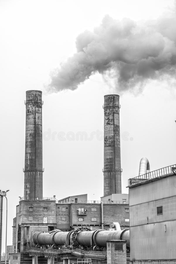 Industry. Big industry stacks coming out smoke royalty free stock image