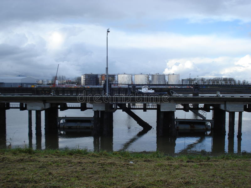 Industry with bridge and river stock image