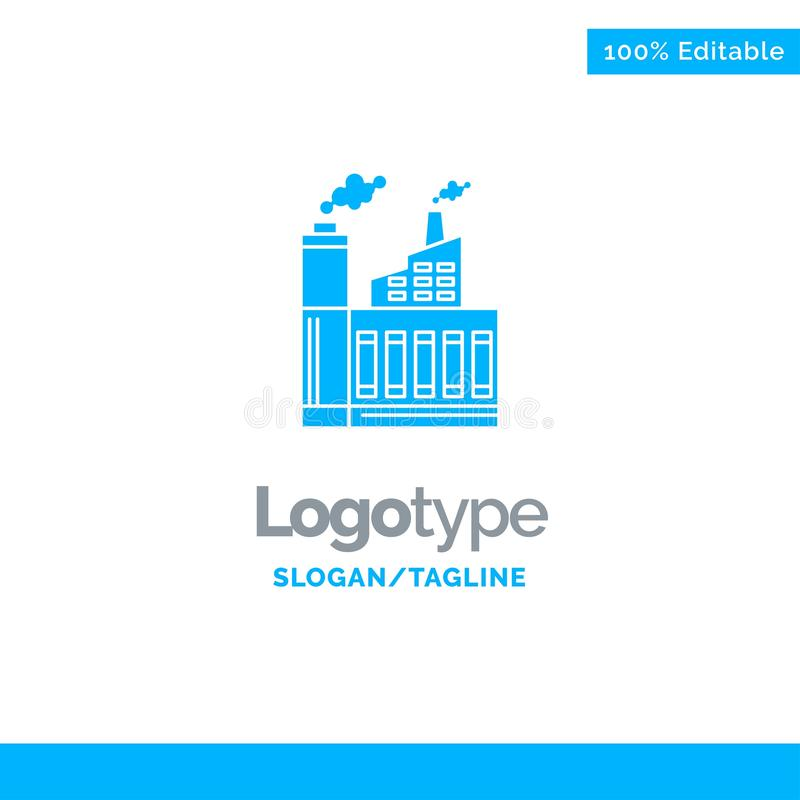 Industry, Building, Construction, Factory, Smoke Blue Solid Logo Template. Place for Tagline stock photos