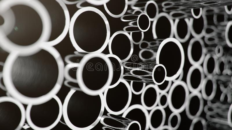 Industry business production and heavy metallurgical industrial products, many shiny steel pipes, industrial background vector illustration