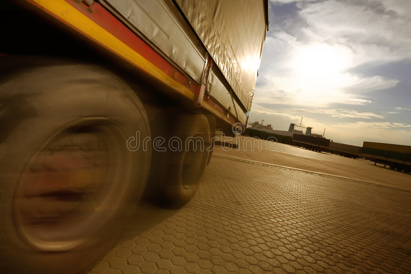 Industry and commerce. Truck parking in a harbor stock images