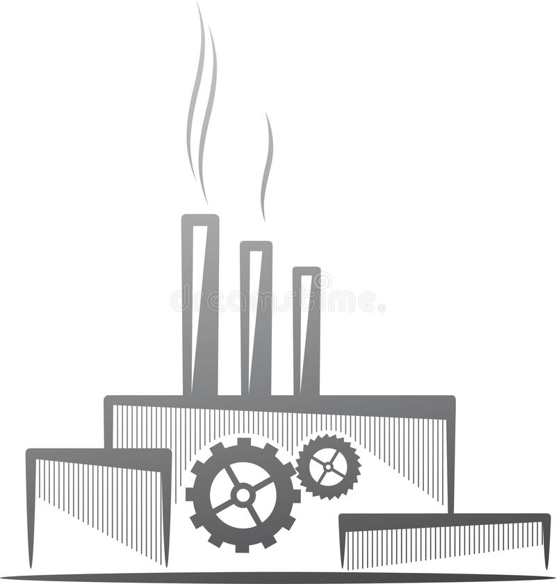 Industry concept. Symbolic illustration with a factory. Industry concept vector illustration