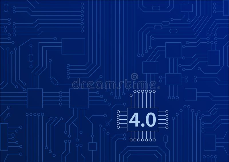 Industry 4.0 concept as background with circuit board / CPU illustration stock illustration