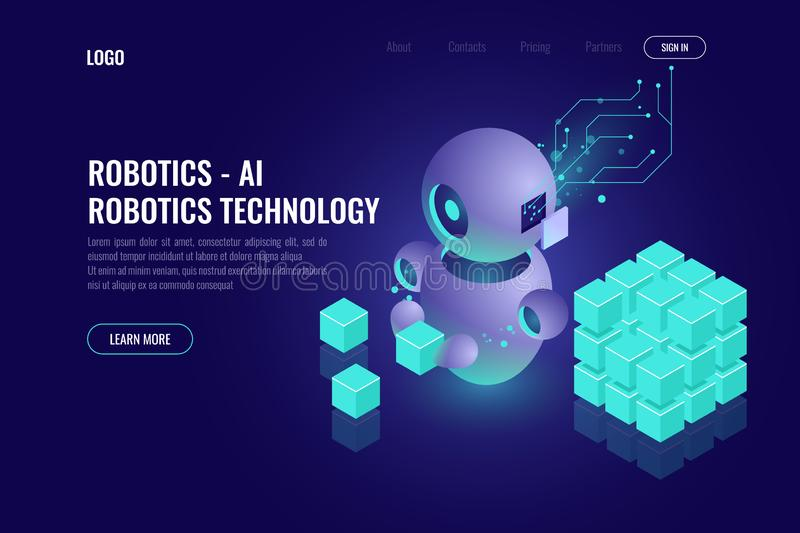 Industry 4.0 concept, big data isometric robotics technology, automating the process with a robot, organize and sort. Data, 3d vector dark background royalty free illustration