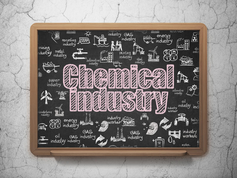 Industry concept: Chemical Industry on School board background. Industry concept: Chalk Pink text Chemical Industry on School board background with Hand Drawn royalty free illustration