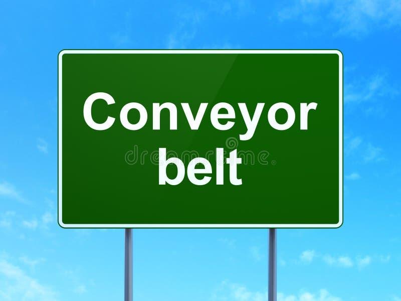 Industry concept: Conveyor Belt on road sign background royalty free illustration